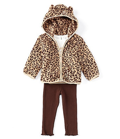 Little Me Baby Girls 12-24 Months Long-Sleeve Meow Graphic Tee Cozy Leopard Sherpa Zip-Up Hoodie & Ribbed Legging 3-Piece Set
