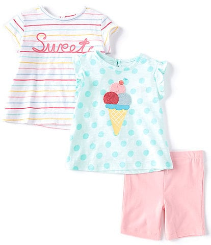Little Me Baby Girls 12-24 Months Striped Verbiage Tee, Large-Dot Ice Cream Motif Tee & Solid Shorts Set