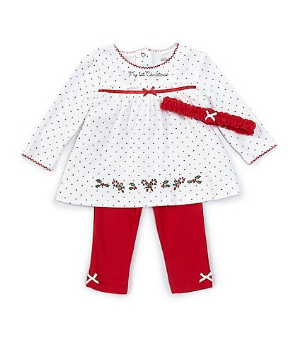 Little Me Baby Girls 3-12 Months Long Sleeve Holly Dotted Christmas Tunic & Leggings Set
