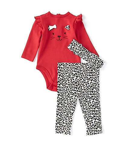 Little Me Baby Girls 3-12 Months Long-Sleeve Leopard Bodysuit & Bow Leggings Set