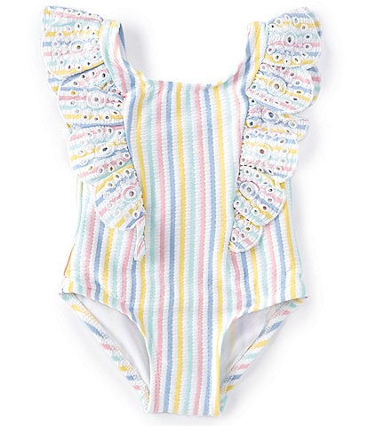 Little Me Baby Girls 6-24 Months Lemon-Slice Striped One-Piece Swimsuit