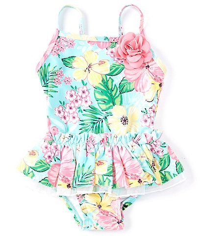 Little Me Baby Girls 6-24 Months Ruffled Tropical Floral One-Piece Swimsuit