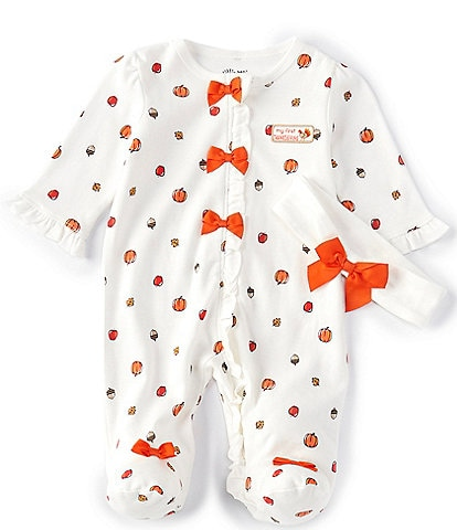 Little Me Baby Girls Newborn-9 Months Long-Sleeve Harvest Footed Coverall & Hat Set