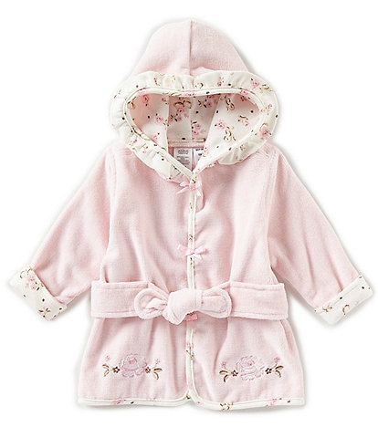 Little Me Baby Girls Newborn-9 Months Vintage Rose Hooded Bath Robe