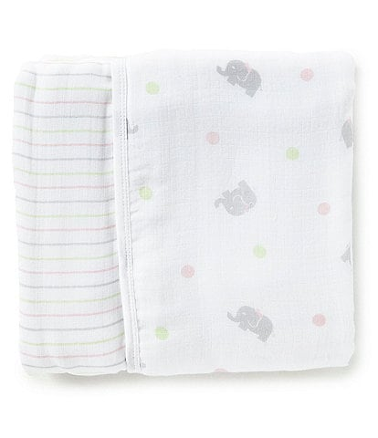 Little Me Baby Girls Sweet Elephant Print Muslin Blanket