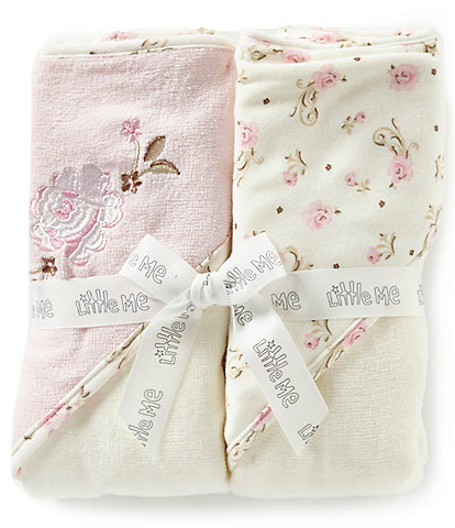 Little Me Baby Girls Vintage Rose 2-Pack Hooded Towel Set
