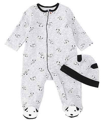 Little Me Baby Boys Preemie-9 Months Long-Sleeve Dalmatian-Print Footed Coverall Matching Cap