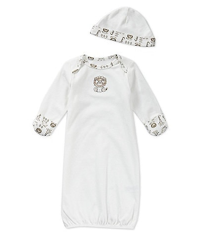 Little Me Baby Newborn-3 Months Safari Gown & Hat Set