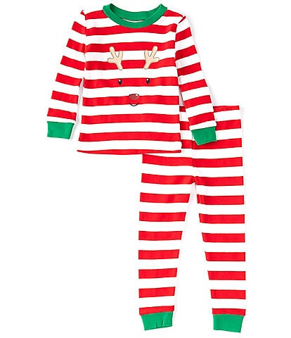 Little Me Toddler 2T-4T Long Sleeve Reindeer Striped 2-Piece Pajamas Set
