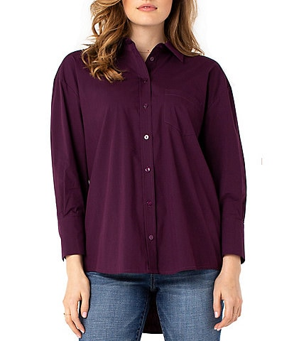 Liverpool Jeans Company 3/4 Sleeve Oversized Button Down Hi-Low Shirt