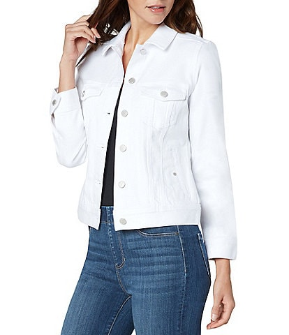 Liverpool Jeans Company Classic Point Collar Button Front Long Sleeve Denim Jacket