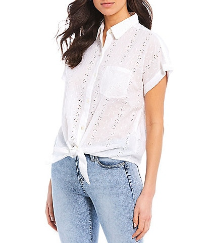Liverpool Jeans Company Floral Eyelet Short Sleeve Boxy Shirt