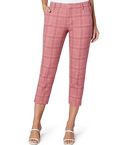 Liverpool Jeans Company Kelsey Plaid Cropped Trouser Mid Rise Pants