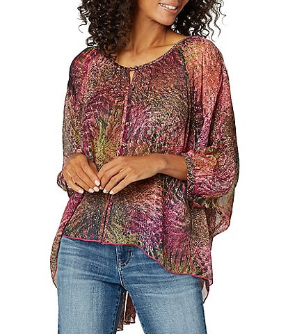 Liverpool Jeans Company Sheer Oversized Printed Chiffon Blouse