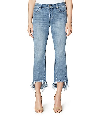 Liverpool Jeans Company Sustainable Crop Flare 5-Pocket Hi-Low Fray Hem Jeans