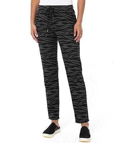 Liverpool Los Angeles Pull-On Zebra Knit Elastic Waistband Joggers