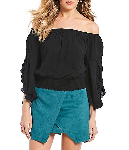 Living Doll Off-the-Shoulder Ruffled Smocked Top