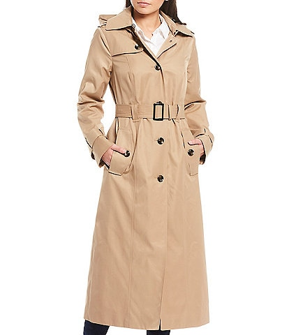 London Fog Long Trench Belted Raincoat