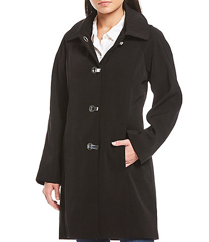 London Fog Petite Size Hooded Metal Clip Front Closure Raincoat