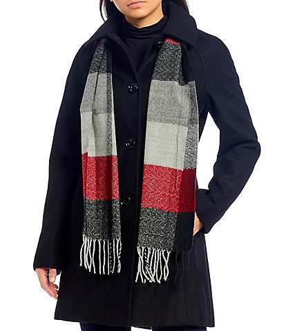 London Fog Petite Size Single Breasted Coat with Scarf