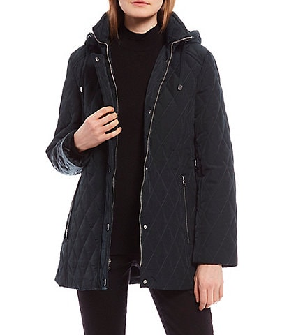 London Fog Petite Size Single Breasted Quilted Coat with Removable Hood