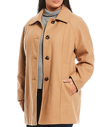 London Fog Plus Size Single Breasted Coat with Scarf