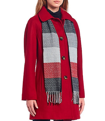 London Fog Single Breasted Coat with Plaid Scarf