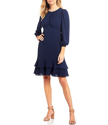London Times 3/4 Puff Sleeve Flounce Hem Crepe Dress