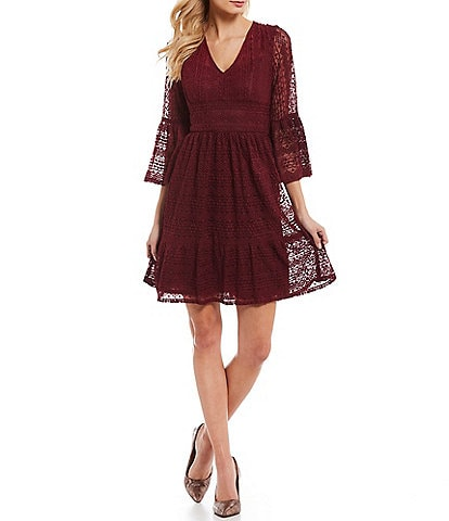 London Times Bell Sleeve Fit and Flare Lace Dress