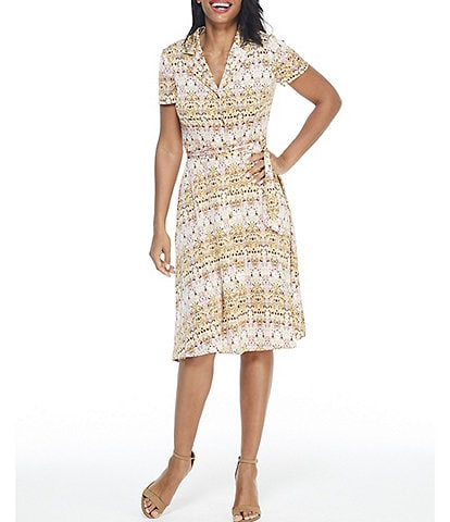 London Times Button Front Collared Shirt Dress