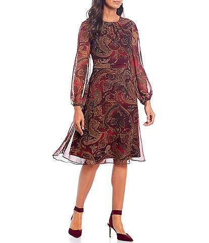 London Times Chiffon Paisley Print A-Line Midi Dress
