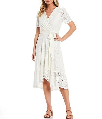 London Times Diamond Dot Embroidered Jersey Short Sleeve Ruffle Wrap Dress