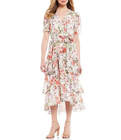 London Times Floral Chiffon V-Neck Short Sleeve Tie Waist Midi Dress