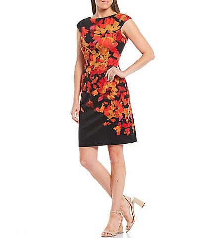 London Times Floral Crepe Cap Sleeve Sheath Dress
