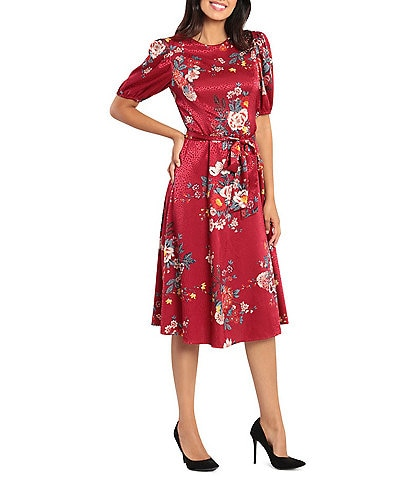 London Times Floral Jacquard Short Sleeve Tie Waist Midi Dress