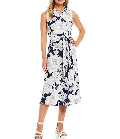 London Times Floral Printed Bubble Crepe Collared Shirt Dress