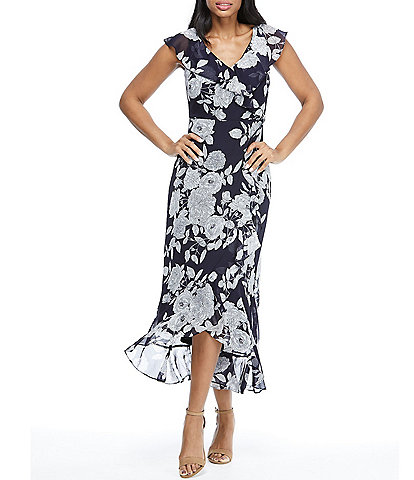 London Times Flutter Cap Sleeve V-Neck Hi-Low Floral Midi Dress