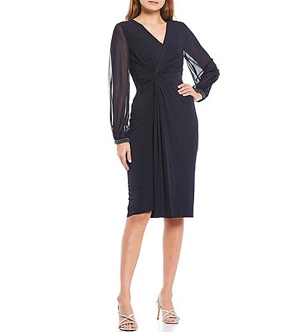 London Times Beaded Trim Illusion Sleeve Matte Jersey Faux Wrap Dress