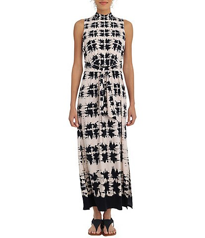 London Times Mock Neck Tie Front Printed Maxi Dress