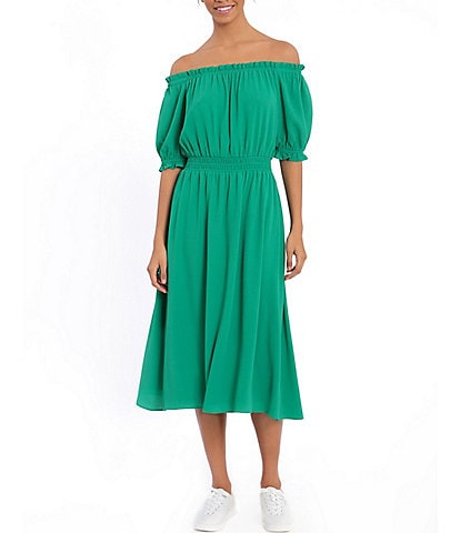 London Times Off-the-Shoulder Puff Sleeve Crepe Midi Dress