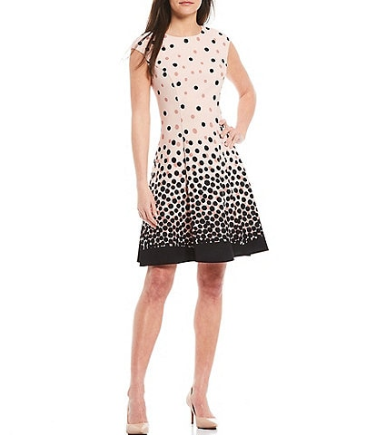 London Times Ombre Dotted Crepe Fit & Flare Dress