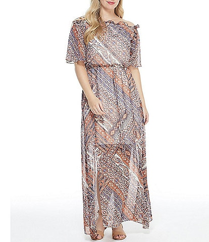 London Times Paisley Print Off-The-Shoulder Blouson Maxi Dress