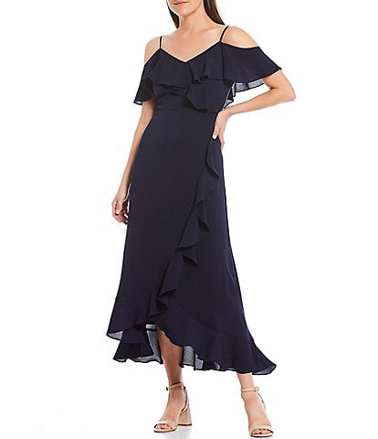 London Times Petite Size Crepe Cold Shoulder Ruffle Midi Dress