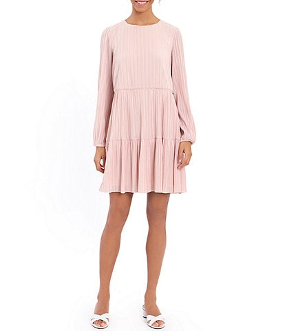 London Times Petite Size Long Sleeve Crystal Pleat Tiered Shift Dress
