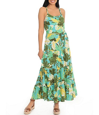 London Times Petite Size Scoop Neck Sleeveless Tropical Print Tiered Maxi Dress