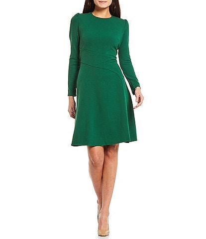 London Times Petite Size Scuba Crepe Crew Neck Long Sleeve Seamed Fit and Flare Dress