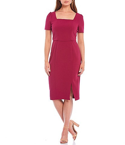 London Times Petite Size Short Sleeve Crepe Square Neck Sheath Midi Dress
