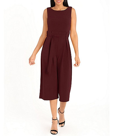 London Times Petite Size Sleeveless Paper Bag Waist Cropped Jumpsuit