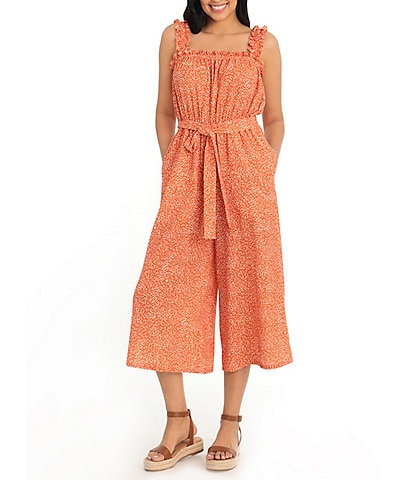London Times Petite Size Square Neck Sleeveless Ruched Cropped Crepe Jumpsuit