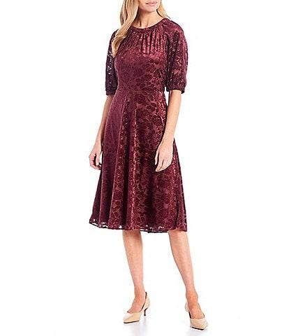 London Times Petite Size Velvet Shadow Burnout Short Puff Sleeve Jewel Neck Dress
